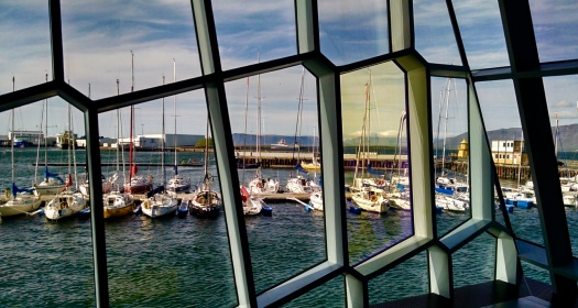 Reykjavik Harbor through Opera House window