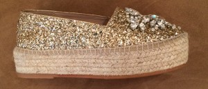 side view of sparkly espadrilles