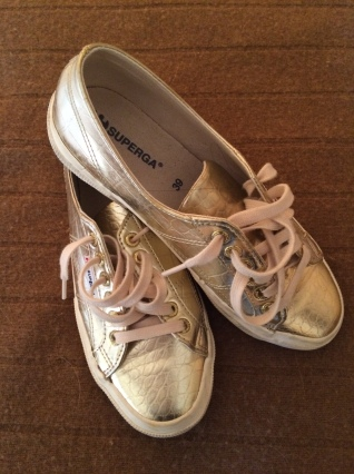 Gold metallic Superga sneakers available at amazon.com